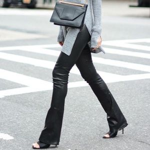 ALTERED LENGTH. J Brand Remy Skinny Leather Flares